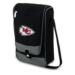 """Picnic Time - Kansas City Chiefs Barossa Wine Tote in Black - The Barossa is so sleek and sophisticated, you'll want to take it with you every chance you get. It's made of 600D polyester and features an adjustable shoulder strap that makes it easy to carry and a flat zippered pocket on the exterior flap. The Barossa is fully insulated to keep your wine the perfect temperature and has a divided interior compartment to separate your bottle of wine from the 2 (8 oz.) acrylic wine glasses included. Also included are: 1 stainless steel waiter style corkscrew, 1 bottle stopper (nickel-plated), and 2 napkins (100% cotton, 14 x 14"""", Black with silver pinstripe). The Barossa wine tote is perfect for picnics, concerts, or travel and makes a wonderful gift for those who enjoy wine.; Decoration: Digital Print; Includes: 10 stainless steel waiter style corkscrew, 1 bottle stopper (nickel-plated), and 2 napkins (100% cotton, 14 x 14"""", Black with silver pinstripe)"""