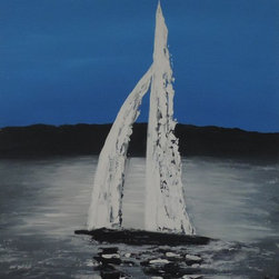 Cynthia Todd Art - Newport Sailboat - Newport Sailboat is an original one of a kind acrylic painting which is 24x36 inches. It is on stretched canvas on a wooden low profile frame.