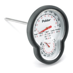 POLDER - Dual Oven Thermometer, Stainless Steel - Bring this unique thermometer with two features, it can function both as an oven as well as a meat thermometer. It features a high temperature silicone grip so that it will not burn you when you remove it or reposition it. It has a large easy to read face that can easily be read through the oven door and a temperature range of 120 - 200 degrees Fahrenheit for meat and 150 - 550 Fahrenheit for the oven.