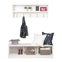 Prepac - Prepac Floating Entryway Shelf with Bench in White - Prepac - Hall Trees - WUXX05001PKG - Prepac Floating Entryway Shelf with Bench in White