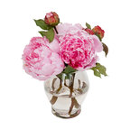 The French Bee - Vibrant Peonies - What's sweeter than a little vase full of peonies? These are pretty, pink and pass perfectly as the real thing despite being made from silk. Suspended in faux water and the illusion is complete. Keep them crisp and clean with a soft cloth.