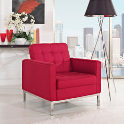 Florence Style Red Wool Loft Club Chair - The Wool Loft Arm Chair offers a stunning and luxurious look that will instantly enhance any space. This mid-century modern wool club chair is inspired by the designs of Florence Knoll 1954 lounge collection, and has a recognizable mid-century modern style. The simple style of the Loft lounge chair in wool upholstery makes for a clean, sharp look. Tufted accents create a beautiful pattern, and the couch's low profile makes the loft sofa an ideal item small space. Features a polished stainless steel frame, and high quality wool cushions that attach by velcro to the back.This item is a high quality reproduction of the original.