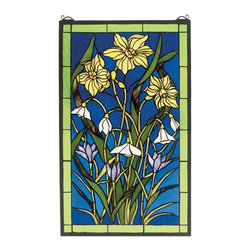 Meyda Tiffany - Meyda Tiffany Spring Bouquet Window X-83783 - From the Spring Bouquet Collection, this Meyda Tiffany art glass window features a beautiful bouquet of spring flowers including lilies and more. The green leaves and vivid blue backdrop are complimented by coordinating green trim. Flowers in shades of lavender and yellow complete the look.