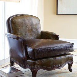 Old Hickory Tannery - Old Hickory Tannery Antiqued-Brown-Leather Chair - Striking handcrafted armchair offers classic comfort and timeless appeal. Hand-antiqued, croccodile-embossed leather; a carved frame; and nailhead trim create a commanding look. From Old Hickory Tannery®. European beechwood frame with a hand-paint...