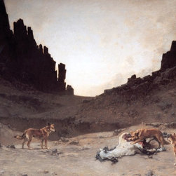 """Gustave Achille Guillaumet Dogs of the Douar Print - 16"""" x 24"""" Gustave Achille Guillaumet Dogs of the Douar Devouring a Dead Horse in the Gorges of El Kantar premium archival print reproduced to meet museum quality standards. Our museum quality archival prints are produced using high-precision print technology for a more accurate reproduction printed on high quality, heavyweight matte presentation paper with fade-resistant, archival inks. Our progressive business model allows us to offer works of art to you at the best wholesale pricing, significantly less than art gallery prices, affordable to all. This line of artwork is produced with extra white border space (if you choose to have it framed, for your framer to work with to frame properly or utilize a larger mat and/or frame).  We present a comprehensive collection of exceptional art reproductions byGustave Achille Guillaumet."""