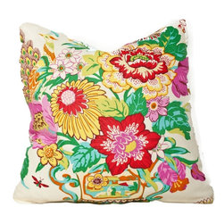 Society Social - Peacocks and Petals Pillow, White - This lush botanical design is resplendent with color. It's like a bouquet for your home that will never wilt! Take two and layer them into any part of your home that needs perking up.