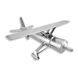 Zeckos - Cast Aluminum Airplane Sculpture Figurine - An antique propeller driven airplane lends its styling to this wonderfully sculpted miniature. Cast in polished aluminum, it would make a great focal piece on any desk, shelf or table top. Grouped with like items, it would also make a fantastic accent piece that any aircraft admirer would relish. It measures 5.5 inches high, 15 inches across, and 15 inches long. A great gift for any fancier of flight.