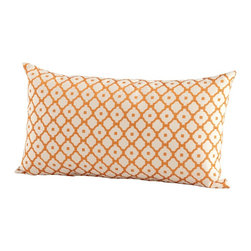 Cyan Design - Cyan Design Dot Matrix Pillow X-91560 - The lattice inspired pattern of this Cyan Design pillow helps to give it a classic look, rivaled only by the contemporary color palette. The orange lattice pattern is set over a ivory backdrop, creating a surprisingly classic, almost timeless look to this decorative lumbar pillow.