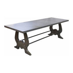Kathy Kuo Home - Verre Industrial Style Lute Iron Dining Table - Forged from iron and steel, this impressive, rustic dining table is the centerpiece of your home. Gather everyone together for some pre-game carbohydrates or end the day with coffee and dessert, all served on a stunning surface of uniquely aged and textured iron. The elegant, pear-shaped legs add an architectural element to this functional find.