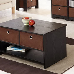 Furniture of America - Furniture of America Fresno Collection Removable Fabric Storage Box Coffee Table - This dual functioning coffee table with storage is finished with a deep espresso finish. Three storage options are available within the living or family room piece. Durability and stability are achieved with the use of MDF and wood veneers.
