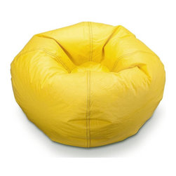 ABC Lifestyle - 21 in. Round Bean Bag in Marigold - Twin locking zippers. Can be easily refilled. Wipe clean. 4.5 cube of fill. 90 days warranty. Made from vinyl and polystyrene bead. 21 in. Dia.