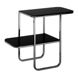 """Matrix International - Frankl Bar End Table - An original 2-level end table designed by Paul Frankl around 1930 which embodies the poetic quality of """"modern decorative arts"""". It is characterized by plain, essential lines connected by square metal tubes which intersect small, clear-cut flat surfaces."""