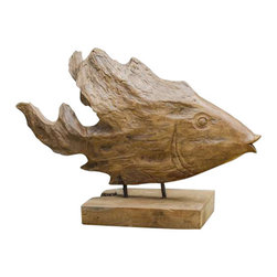 Uttermost Teak Fish Sculpture - Natural teak wood. Made of natural teak wood. Each piece is handcrafted making it unique. Sizes will vary. Cracks and variations in the grain are normal.