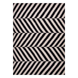 Jaipur Rugs - Flat Weave Stripe Pattern Gray /Black Wool Handmade Rug - MR52, 9x12 - An array of simple flat weave designs in 100% wool - from simple modern geometrics to stripes and Ikats. Colors look modern and fresh and very contemporary.