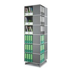 """Empire Office Solutions - Moll Spin and Store Binder Storage Carousel - Six Tier in Graphite Wood - Perfect for the corner of an office, classroom or library, this shelving column turns uniformly in a full 360° rotation and offers all-around access to books, binders and supplies. Each tier contains four 14"""" wide x 11"""" deep compartments and holds almost twice as many binders and books per level as a traditional 27"""" wide bookcase shelf."""