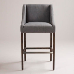 Gray Hayden Barstool - Great-looking and comfortable bar stools are the hardest things to find. I love this upholstered gray one so much.