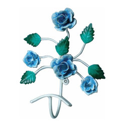 """Renovators Supply - Hooks Wrought Iron Hook Multi Colored Flower  9"""" H x 7 1/2"""" W - These Single Hooks are most popular in entryways for coats, on bathroom doors for towels and robes. Clean up and get organized with a single hook or get several to hang side-by-side. They look fantastic in either a contemporary bathroom & kitchen or a Victorian hallway. Hand-forged wrought iron."""