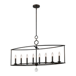 Crystorama - Crystorama 9168-EB Cameron 8 Light Chandeliers in English Bronze - You can see arts and crafts influence in our Cameron collection, but other details are inspired by more home design trends - sleek shapes, geometric motifs and pure white glass.