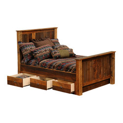 Fireside Lodge - Barnwood Underbed 3 Drawer Dresser Add-on - Combine  an  underbed  dresser  with  any  of  the  Fireside  Lodge  rustic  reclaimed  barnwood  beds  and  add  some  significant  storage  space  to  your  rustic  bedroom.  This  three-drawer  extension  piece  is  attractive  enough  you'll  won't  need  to  add  a  dust  ruffle  or  other  linens  to  cover  the  sides  of  your  bed.  Select  any  of  the  Fireside  Lodge  barnwood  beds,  and  add  this  dresser,  and  the  manufacturer  will  customize  your  bed  to  fit.  Note:  you  will  need  a  bunkie  board  for  your  bed,  but  will  not  need  a  box  spring.                    Underbed  dresser  drawers  include  full-extension  ball-bearing  glides  rated  to  100  pounds              Dovetailed  drawers              110  pounds              Hardware  features  antique  rusted  iron  finish              Available  for  all  Fireside  Lodge  beds  --  all  designs              Dimensions:  75  W  x  25  D  x  12-1/2  H              Bunkie  board  is  included,  and  replaces  box  spring              Add  two  (quantity  2)  underbed  dressers  if  you  would  like  drawers  on  both  sides  of  the  bed  for  full,  queen,  or  king  sizes  (only  one  dresser  is  needed  for  twin  beds).              Please  note:  Image  shows  entire  barnwood  bed.  This  product  includes  only  the  3-drawer  underbed  dresser  situated  underneath  the  bed  pictured  in  the  images  on  this  page.              Free  shipping  within  continental  U.S.                      Underbed  Dresser  Storage  -  Reclaimed  Barnwood