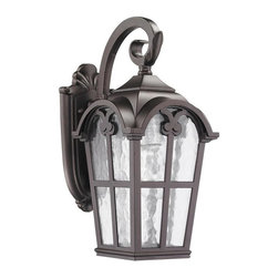 None - Transitional Corrosion-resistant 1-light Bronze Outdoor Wall Light Fixture - This Transitional one-light outdoor wall light fixture features clear water glass and will complement your outdoor decor. This wall-mounted outdoor light fixture is weatherproof and corrosion resistant.