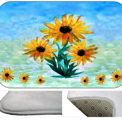 Sun Flower Time Plush Bath Mat, 20X15 - Bath mats from my original art and designs. Super soft plush fabric with a non skid backing. Eco friendly water base dyes that will not fade or alter the texture of the fabric. Washable 100 % polyester and mold resistant. Great for the bath room or anywhere in the home. At 1/2 inch thick our mats are softer and more plush than the typical comfort mats.Your toes will love you.