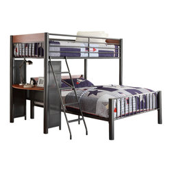 Homelegance - Homelegance Division Twin/ Full Loft Bed in Light Graphite - Reaching for new heights in your child's bedroom is the Division collection. Allowing for creative placement in the room and separate from the structure of this unique metal bunk system is a full bed. Perched above the built-in student desk is the twin bed. With metal framing that lends an air of contemporary style and a light graphite finish, this cool loft bed will serve your family for many years to come.