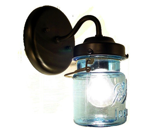 Vintage BLUE Mason Jar SCONCE Light, Oil Rubbed Bronze - A handcrafted sconce lamp that lights a blue, original vintage canning jar with all its own history and 'age' marks. Featuring both the original wire-bale and raised lettering.