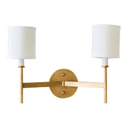 Worlds Away - Worlds Away 2 Arm Gold Leaf Wall Sconce RANDOLPH G - 2 arm gold leaf sconce with cream shades. Ul approved for two 40 watt candelabra bulbs.