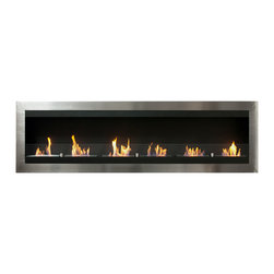 "Ignis Products - Maximum Wall Mounted Ventless Ethanol Fireplace with Glass Barrier - Make a larger area feel more intimate and inviting with the warmth of this Maximum Wall Mounted Ventless Ethanol Fireplace. This large wall mount fireplace is ideal for large rooms or for commercial application in bars or restaurants, and it can also be installed in a recessed application for an even more streamlined look. The sleek, modern design of this wall-mounted unit features six individual flames in a stainless frame that gives your wall a contemporary look. It is equipped with six ethanol burners with a total approximate output of 36,000 BTUs, so it is sufficiently sized to keep a big area toasty warm. This ventless unit installs with ease without the need for electrical or gas lines and without the use of a chimney. It uses clean burning ethanol, so there's no muss or fuss. Dimensions: 82.75"" x 24.5"" x 6"". Features: Ventless - no chimney, no gas or electric lines required. Easy or no maintenance required. Easy Installation - can be mounted directly on the wall or recessed (mounting brackets included). Capacity: 1.5 Liters per Burner. Approximate burn time - 5 hours per Burner per refill. Approximate BTU output: 6000 per Burner (Total BTU - 36000).   Includes Safety Glass Barrier and Brackets."