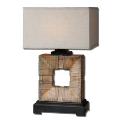 Mula Bamboo Table Lamp - Burnished Light Bamboo Finish Accented With Dark Rustic Bronze Details. The Rectangle Shade Is Oatmeal Linen Weather Resistant Fabric. For Indoor Or Outdoor Use.