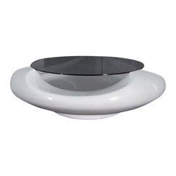 Consigned Designlush Glass Coffee Table - Designlush is renowned in the design industry for its boundary breaking furniture and accessories in the contemporary sector. This innovative table certainly is in keeping with the Designlush mantra. This opulent piece features a white fiberglass curvilinear base that perfectly cradles a smoked glass top for an ultra-modern look.