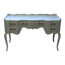 Pearlized French Provincial Desk Vanity - The lines on this beauty...wowza! All curves and details! Made of solid wood, this high quality (part of the Orleans Collection) piece has been re-imagined in the softest mint green, with a pearlized French wax finish. Bits of gold highlight the edges and bring the original hardware back to life! The piece is finished on the back, a well, so it can float in a room. All drawers are clean, smell fresh, and operate smoothly.