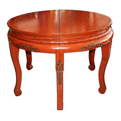 Hand-Carved Elm Table - Whether locked together (as shown) or separated into semicircles, these antique demilune tables are a wholly elegant choice for your favorite setting. They're hand-carved of elm with a red lacquer finish — a prime example of Chinese design — and large enough to serve as a dining table.