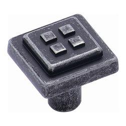 Amerock - 4-Square Forgings Knob - Wrought Iron Dark (Set of 10) - Amerock Knob. 4-Square. Wrought Iron Dark. Lifetime Finish. 1-1/8 in. L x 1-1/8 in. W x 1-1/4 in. H (0.22 lbs)