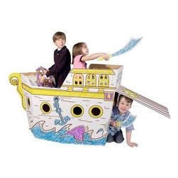 Box Creation Pirate Ship - Make playing pirates that much more fun with this collapsible cardboard pirate ship.