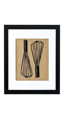 Fiber and Water - Baker's Whisks Art - This vintage-looking print of baker's whisks would be charming in the kitchen, especially if you love to cook. The print is hand-pressed onto natural burlap for a bit of rustic nostalgia, but comes in a contemporary black frame and white matte that will look stylish with almost any decor. Try pairing it with one of the matching kitchen item burlap prints, such as the antique silverware.