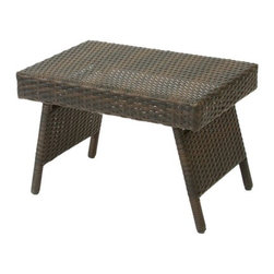 Wicker Brown Foldable Outdoor Table - Functional and sturdy, this table is meant to beautify your patio. The Wicker Brown Foldable Outdoor Table is wrapped in PE wicker material and is made to be weather-resistant and long-lasting. Its foldable quality allows it to be used as a standing or a lap table as well. After use or when not in use, this table can be folded away and stored conveniently. An attractive finish and appearance makes it a stylish addition to your patio furniture.About Best Selling Home Decor Furniture LLC Best Selling Home Decor Furniture LLC is a US-based company dedicated to providing you with a wide variety of fine furniture. With sales and manufacturing offices in Europe and China, as well as the ability to ship to anywhere in the world, no one is excluded from bringing these lovely pieces home. From outdoor to indoor furniture, children's furniture to ottomans and home accessories, all your needs will be met with attractive, high quality products that will last.