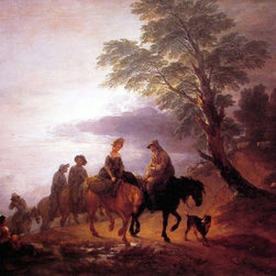 """Thomas Gainsborough Open Landscape with Mounted Peasants   Print - 16"""" x 20"""" Thomas Gainsborough Open Landscape with Mounted Peasants premium archival print reproduced to meet museum quality standards. Our museum quality archival prints are produced using high-precision print technology for a more accurate reproduction printed on high quality, heavyweight matte presentation paper with fade-resistant, archival inks. Our progressive business model allows us to offer works of art to you at the best wholesale pricing, significantly less than art gallery prices, affordable to all. This line of artwork is produced with extra white border space (if you choose to have it framed, for your framer to work with to frame properly or utilize a larger mat and/or frame).  We present a comprehensive collection of exceptional art reproductions byThomas Gainsborough."""