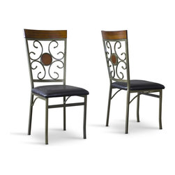 Baxton Studio - Baxton Studio Novara Wood and Metal Contemporary Dining Chair-Set of 2 - Delight in the decorative majesty of our Novara Wood and Metal Contemporary Dining Chair. Featuring sturdy antique-brass powder-coat metalwork and black faux-leather seat upholstery, this dining-chair offers Mediterranean charm at a discount price. Flower-shaped chair backs are sophisticated yet relaxed. Wooden chair-back accents feature just the right hue for warmth and glow.