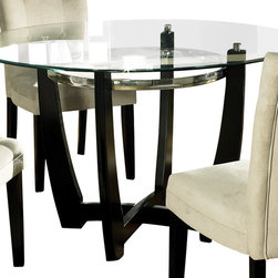 "Steve Silver - Steve Silver Matinee Glass Top 48 Inch Round Dining Table - The Manitee Glass Top Table will enhance any contemporary decor. The 48"" round glass top sits on a black and chrome table base giving this table load of style. What's included: Dining Table (1)."