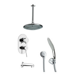 Remer - Chrome Tub and Shower Faucet Set with Handheld Shower - Single function tub and shower faucet.