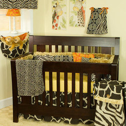 Cotton Tale Designs - Zumba 7 Piece Crib Bedding Set - A quality baby bedding set is essential in making your nursery warm and inviting. All Cotton Tale patterns are made using the finest quality materials and are uniquely designed to create an elegant and sophisticated nursery. Zumba is a combination of fun animal prints and African art, all of 100% cotton duck. The Zumba 7 pc Set includes 3 Pc bedding set(dust ruffle, crib sheet, and coverlet), diaper stacker, toy bag, pillow pack, and valance.250 thread count cotton sheet in gold pebble print. Giraffe print bed skirt and soft, reversible cheetah coverlet. The Zumba Diaper Stacker is patched in all patterns, with fringe. This convenient diaper stacker holds up to 6 dozen newborn diapers. Toy bags are very practical in the nursery. They can be attached to the wall for decoration or tied to the changer for supply storage. Zumba Toy Bag in giraffe skin print with Masi print lining and fringe trim is very special. It has about a 10 lbs capacity. The Zumba Pillow Pack has two unattached pillows, measuring 15x15 and 12x12. The flanged masi floral with coconut button and one in soft cheetah skin. These pillows are for a decorative touch and should never be used in the crib. Spot clean only. The Zumba Valance in zebra attaches to decorative rod with Masi ties. Valance measures 55 x 16. Can be used straight or shirred. Cotton and polyester shell with poly fill. Neutral pattern. Wash gentle cycle, cold water, separately. Tumble dry low or hang dry. Neutral. NO BUMPER INCLUDED IN THIS SET.