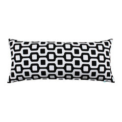 "Bain"" Black and White Body Pillow Cover"