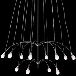 """LBL Lighting - Twilight 12 Chandelier by LBL Lighting - The LBL Lighting Twilight 12 Chandelier brightens up dark nights with two layers of twelve frosted glass teardrops suspended on the ends of delicate stainless steel arms. For a more airy look, heat-resistant Flite Paper shades are also available. Standard hanging lengths are field cuttable for easy shortening.For more than 40 years, Illinois-based LBL Lighting has created innovative lighting fixtures based on the principles of beauty, originality and quality. Such values remain evident in their current line of fixtures, which feature distinctive elements like organic art glass, solid construction and the latest low voltage and LED lighting technology.The LBL Lighting Twilight 12 Chandelier is available with the following:Details:12 frosted Confuzion teardrop glass shadesStainless steel frameSatin Nickel finishField-cuttable stem lengthsLow voltageETL ListedOptions:Hanging Length: 60"""", or 120"""".Shade: No Shade (glass only), With Shade (flight paper).Please Note:Custom sloped ceiling adapter available; must be ordered with fixture for factory installation. Please contact customer service for more information and/or to order.Lighting:Twelve 10 Watt 12 Volt G4 Halogen lamps (included).Shipping:This item usually ships within 3 to 5 business days."""