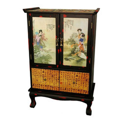 Oriental Unlimted - 2-Drawer Beauty in the Garden Cabinet w Hand - Include genuine Brass hardware, which is antiqued and finished to resist rust. 2 Front doors depict scenes of traditionally dressed women lounging in a sumptuous garden. Features 2 low drawers. Drawers painted a luminous Golden Yellow and covered in hand painted calligraphy. Stands on sinuously curved horse-hoof legs. A lovely Chinese accessory suitable for storage or display. Built with mahogany and Elm wood. Antique-finished for a gorgeous authentic look. Painted panels often include lines of calligraphy and Red seals. 24 in. W x 13.5 in. D x 36.5 in. H