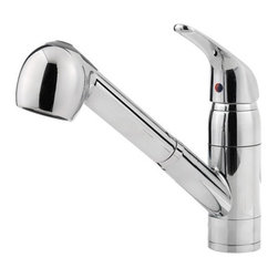 Price Pfister - Price Pfister G133-10CC Pfirst Single Lever Handle Lead Free Kitchen Faucet with - Price Pfister G133-10CC Pfirst Single Lever Handle Lead Free Kitchen Faucet with Pull Out Spray in Polished ChromeThe Pfirst Series includes a full-line-up of faucets for kitchen, laundry, Bathroom and tub/shower. Even as an opening price point family collection, all of these faucets are covered by the Price Pfister Lifetime Warranty. Superior design and great value, that's what Pfirst Series is all about. Price Pfister G133-10CC Pfirst Single Lever Handle Lead Free Kitchen Faucet with Pull Out Spray in Polished Chrome, Features:• Single Control Ceramic Disc Valve