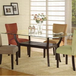 """Wildon Home � - Morro Bay 5 Piece Dining Set - This stunning contemporary table will be a lovely addition to your casual dining room. The sleek rectangular beveled glass top rests above a beautiful wooden base. The base has smooth angular legs, finished in a rich dark Cappuccino for a bold look. An Asian inspired slatted shelf below creates a great storage and display area, while giving this table the perfect distinctive style for your home. The parson style chairs have high sleek curved chair backs and plush padded seats, covered in a soft and durable microfiber fabric. Choose your favorite fabric, or create a colorful mix. Add this beautiful dining set to your home for a style that everyone will enjoy. Features: -Includes 1 dining table and 4 dining chairs. -Contemporary style. -Deep Cappuccino wood finish. -Constructed of hardwoods. -Tapered legs, clean lines. -Table base features a shelf. -Smooth beveled edge glass tops. Dimensions: -Rectangular Dining Table: 30"""" H x 72"""" W x 42"""" D. -Parson Chair: 38"""" H x 19"""" W x 23.5"""" D."""