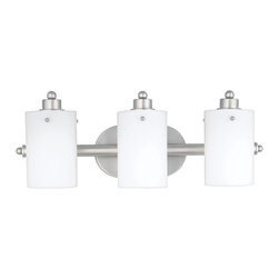 Quoizel - Quoizel AN8540ES Adano Modern/Contemporary Bathroom/Vanity Light - Cylindrical shades of opal etched glass distinguish this bath fixture as a striking piece of contemporary chic. The silver finished arms and wall mount contrast with the frosted appearance of the shades, accentuating the smooth lines and round contours that make this piece lovely to behold.