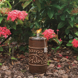 """Smart Solar - Etruscan Ceramic Garden Torch - 9"""" H - Chestnut Orange - Hand crafted 9""""H ceramic garden torch and stylized accent in relief. Outdoor accent piece to line walkways or use as centerpiece. Finished with a Chestnut Orange glaze.. Aluminum cylinder includes wick. Burns for approximately 1 hour per 1 ounce of lamp oil (not included). Can be used with citronella lamp oil to keep mosquitoes away. One year limited warranty. 4.5 in. Diameter x 9 in. HThe Estruscan ceramic garden torch is an outdoor accent piece perfect for lining walkways or using as a centerpiece on a table. Create warmth and ambiance with this hand crafted garden torch with a unique Blue Midnight glazed finish. It burns for approximately one hour per one ounce of lamp oil used. Cylinder includes wick."""