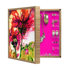 DENY Designs - Ginette Fine Art Crazy Wildflowers BlingBox Petite - Handcrafted from 100% sustainable, eco-friendly flat grain Amber Bamboo, DENY Designs BlingBox Petite measures approximately 15 x 15 x 3 and has an exterior matte cover showcasing the artwork of your choice, with a coordinating matte color on the interior. Additionally, the BlingBox Petite includes interior built-in clear, acrylic hooks that hold over 120 pieces of jewelry! Doubling as both art and an organized hanging jewelry box, It's bound to be the most functional (and most talked about) piece of wall art in your home! Custom made in the USA for every order.